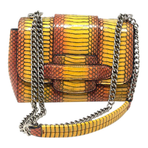 Michino Snakeskin Pattern Crossbody Bag-Front