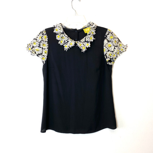 Maeve Daisy Beaded Collar Top- Front