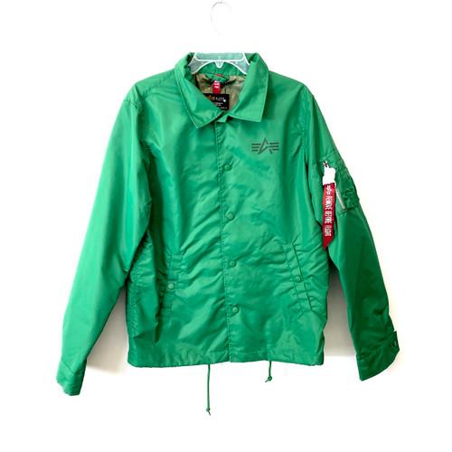 Alpha Industries Runner Green Lightweight Coaches Jacket- Front