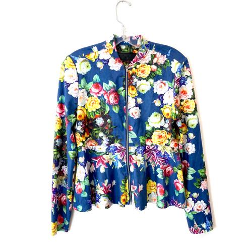 [BLANKNYC] Blue Floral Faux Suede Zipper Jacket- Front