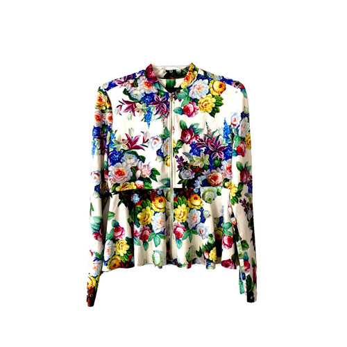 [BLANKNYC] White Floral Faux Suede Zipper Jacket- Front