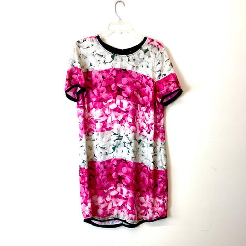 Michael by Michael Kors Floral Print Color Block Mini Dress- Front
