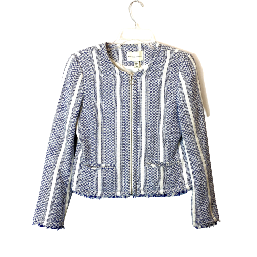 Adrienne Vittadini Tweed Fringe Zip Up Blazer - Thumbnail