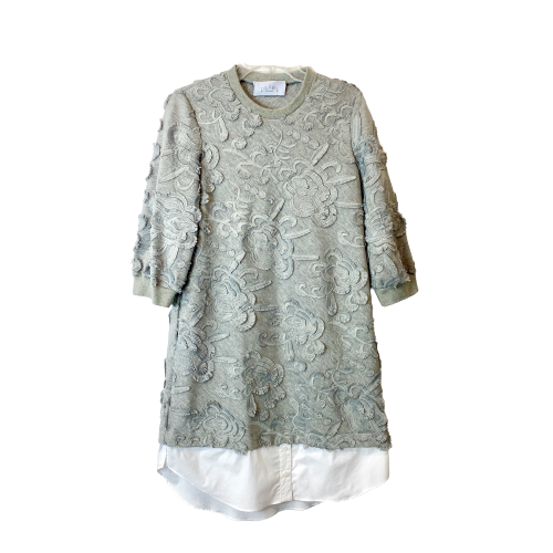 Pearl by Lela Rose Embroidered Jersey Poplin Combo Dress - Thumbnail