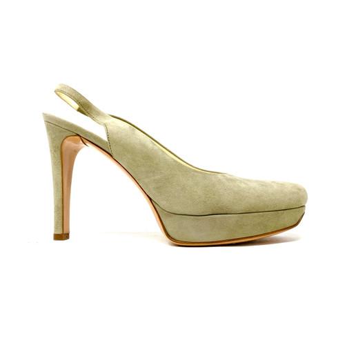 Helmut Lang Gray Camoscio Heels - Thumbnail
