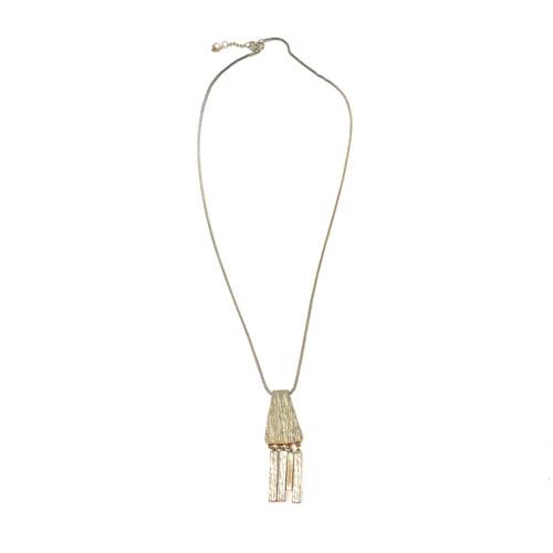 Dylan Gray Wood Textured Bar Pendant Necklace - Thumbnail