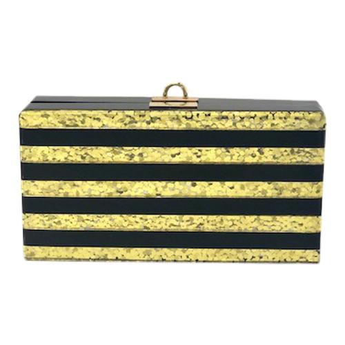 Pearl N' Rose Black & Gold Stripe Clutch Purse- Front