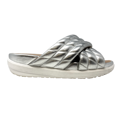 Fitflop Quilted Metallic Leather Slide Sandals - Thumbnail