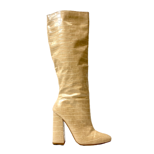 Missguided Sand Croc Over the Knee Mid Heel Boots - Thumbnail