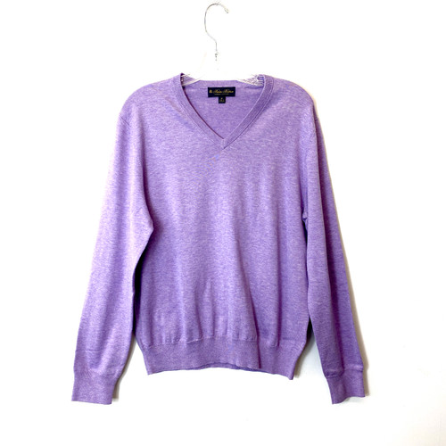 Brooks Brothers Lilac Supima Cotton V-Neck Sweater - Thumbnail