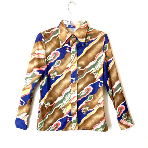 Vintage 1970's Graphic Japonisme Button Down- Front