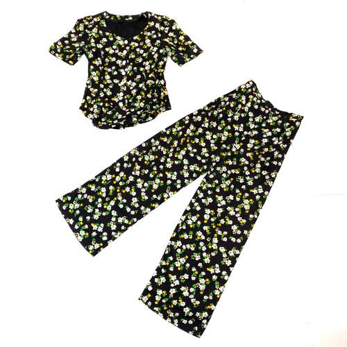 Vintage Floral Print Short Sleeve Set- Thumbnail