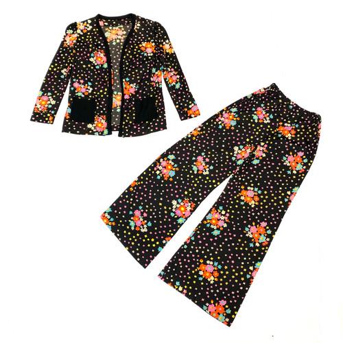 Vintage Floral Print Relaxed Suit Set- Thumbnail