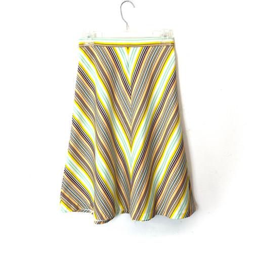 Vintage Multicolored V-Stripe Skirt- Front