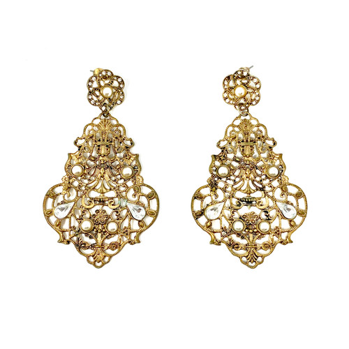 Gold Filigree and Pearl Chandelier Earrings- Thumbnail