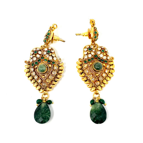 Indian Booti Jade Drop Earrings- Front