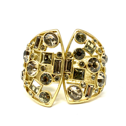Rhinestone Cut Out Hinged Cuff- Front