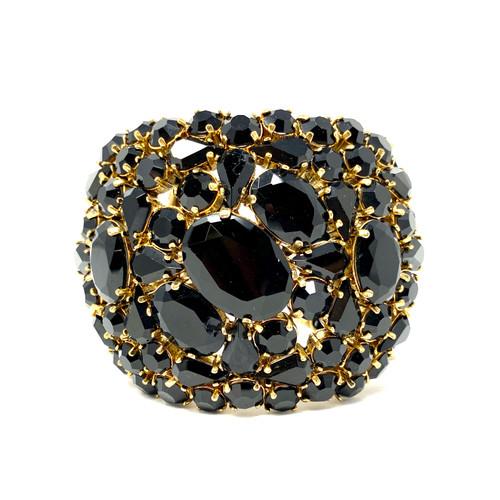 Ornate Black Faux Gemstone Cuff- Front