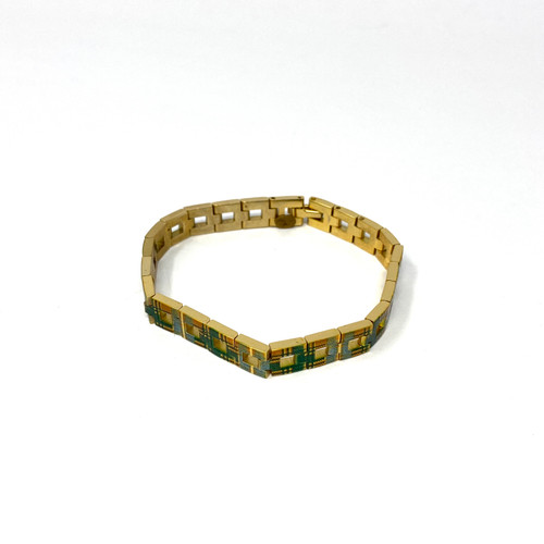 Gold and Plaid Chain Bracelet- Front