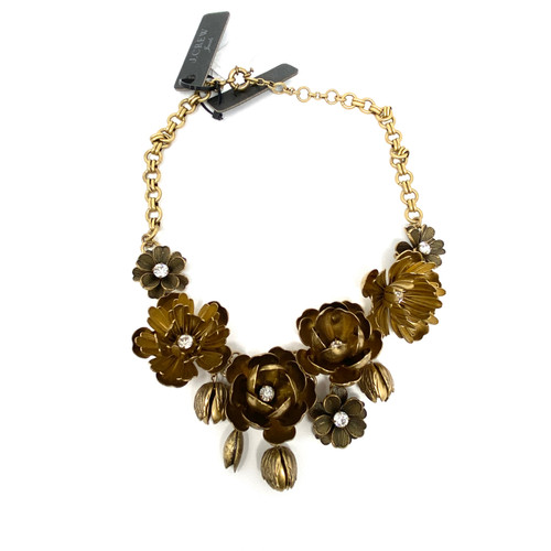 J. Crew Sculpted Flowers Statement Necklace- Front