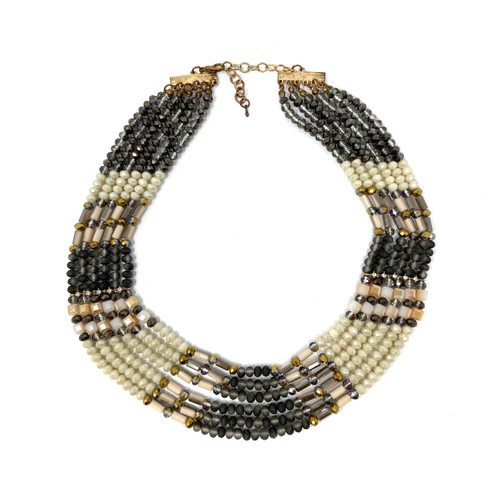 Multilayered Neutrals Beaded Necklace- Front