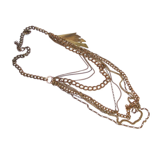 Multilayered Copper Chains and Shards Necklace- Thumbnail