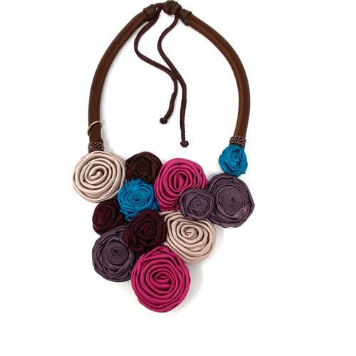 Silk Flower Rosette Necklace- Front