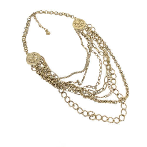 Graziano Embossed Medallion Layered Necklace- Front