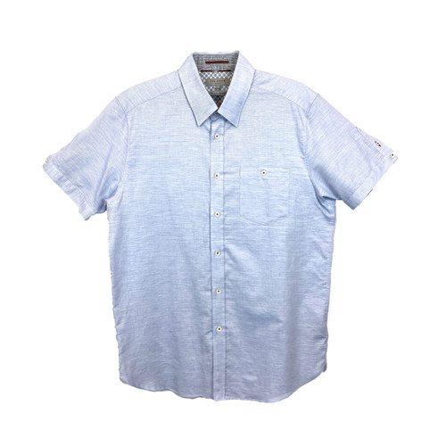 Ted Baker Space Dye Short Sleeve Button Down- Front