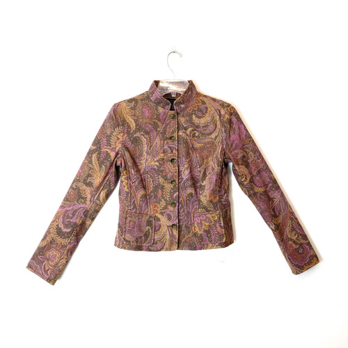 Peruvian Connection Paisley Print Tailored Jacket- Front