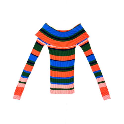 Ella Moss Charlotte Off the Shoulder Stripe Sweater- Front