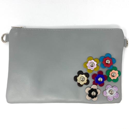 Borse In Pelle Gray Flower Shoulder Bag- Front