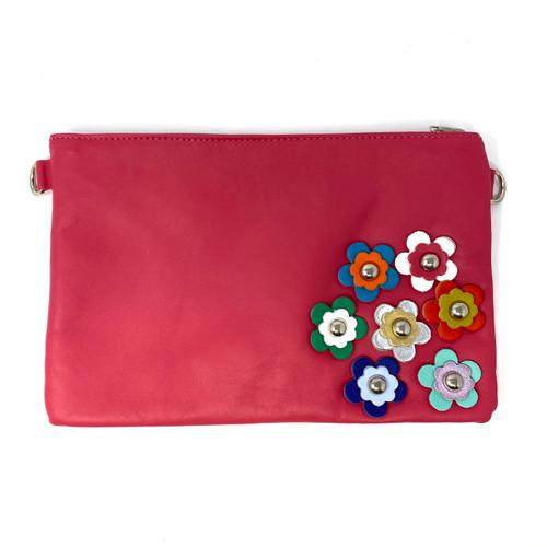 Borse In Pelle Red Flower Shoulder Bag- Front