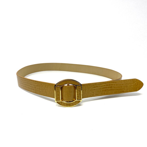 Embossed Lizard Leather O Belt- Front