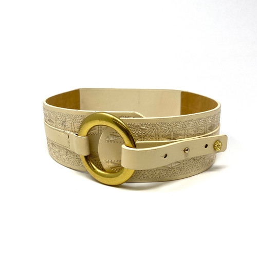 Monochrome Embroidered O Ring Belt- Front