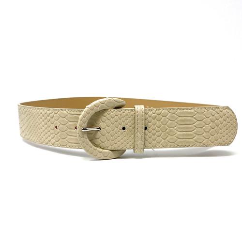 Embossed Snakeskin Matte Leather Belt- Front