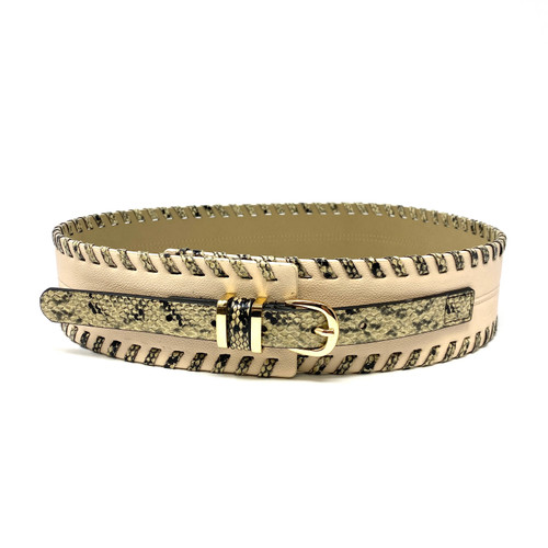 Faux Snake Whipstitched Statement Belt- Front