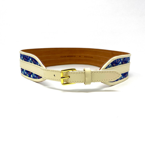 Club Monaco Tropical Textile and Leather Waist Belt- Front