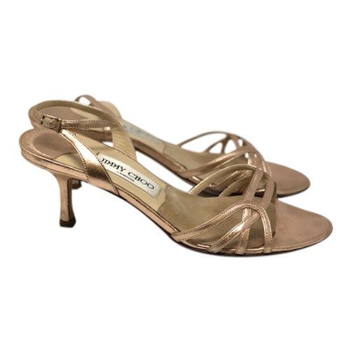 Jimmy Choo Rose Gold Heeled Sandals- Right