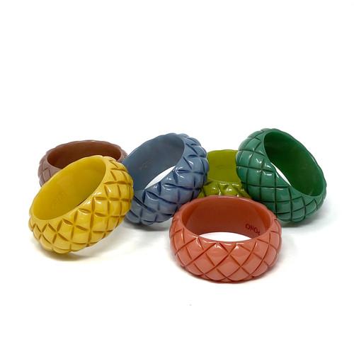 PONO Blue Pineapple Texture Bangle- Grouped