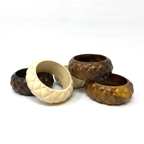 PONO Pineapple Texture Wood Bangle- Thumbnail