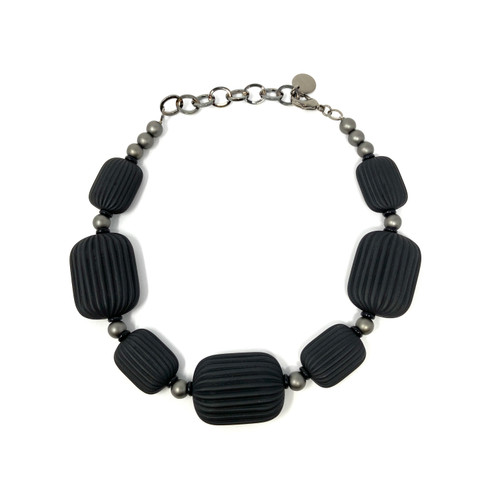 PONO Ridged Bead Statement Necklace- Front