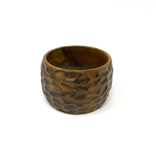 PONO Carved Texture Wide Wood Bangle- Front