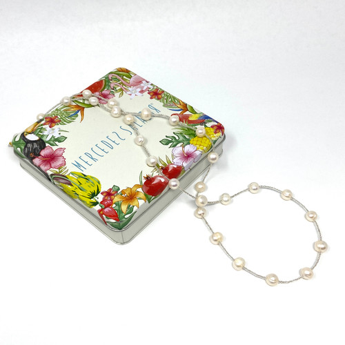 Mercedes Salazar Silver Seed Bead Pearl Station Necklace- Thumbnail