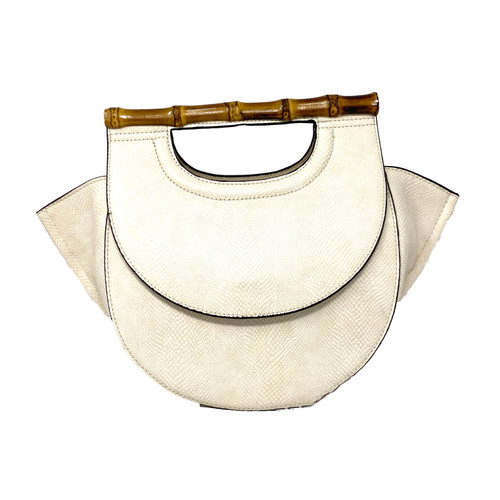 Faux Snakeskin Handbag with Bamboo Bar Handle- Front