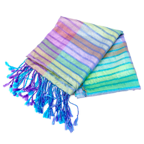 Iridescent Striped Woven Shawl- Thumbnail