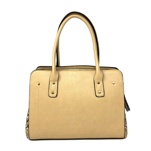 Beige Dual Compartment Shoulder Bag with Faux Snakeskin Side Panels- Front