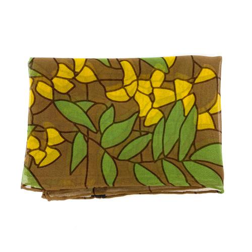 Leaf Pattern Silk Skinny Scarf- Thumbnail