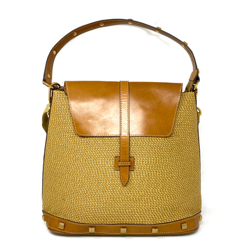 Eric Javits Convertible Leather and Straw Backpack- Front