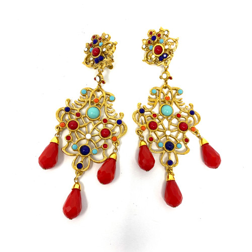 Vintage Barrera Tricolor Festive Chandlier Earrings- Thumbnail